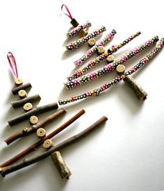 Holiday Craft Idea: Christmas Trees Made of Twigs-- More package toppers.