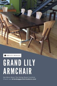 This chair features a tall, stately back intended to scale with longer dining tables. The Grand Lily armchair perfectly supports the human body, the result of decades of ergonomic study. The design of this bespoke dining chair's seat and back, with its curled ends carved at the corners, invite you to sit and be comforted. #chair #home #lilychair #BrianBoggs #woodchair #furniture #woodwork #armchair #bar #barstool Dining Room Furniture, Outdoor Furniture Sets, Outdoor Decor, Woodworking Projects Diy, Woodworking Plans, Curled Ends, Dining Tables, Side Chairs, Human Body