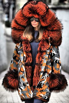 Noble Temperament Camouflage Stitching Imitation Mink Thick Fluffy Coat Online store for the latest fashion & trends in women's collection. Shop affordable ladies' Dresses, Clothing, Shoes & Accessories with top quality. Fox Fur Coat, Parka Coat, Orange Season, Winter Fashion Casual, Winter Style, Fluffy Coat, Fur Fashion, Fashion Dresses, Fashion Trends