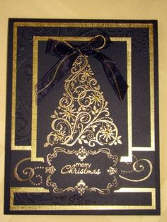Golden Snow Swirled by Sue Robertson - Cards and Paper Crafts at Splitcoaststampers  Idea:  CASE- switch it up for Valentines Day/ Black, cherry cobbler embossing powder  new stamps from spring catalog....????