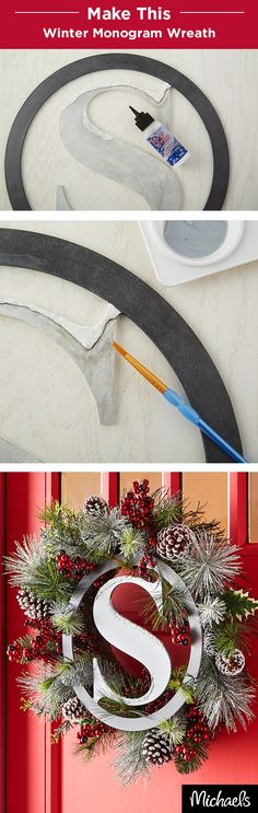 Craft a beautiful winter monogram wreath for your front door this season. First, paint a wood monogram and then add dimensional snow with Snow Writer®. Once it's dry, wire the monogram to a premade berry and pinecone wreath. All of the supplies you need for this project can be found at your local Michaels store.