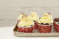 Red velvet cupcakes with a  touch of gold