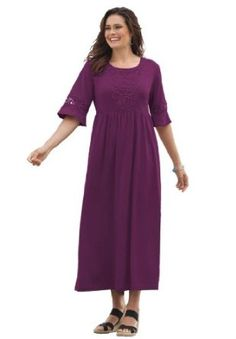 Woman Within Plus Size Dress In Maxi Length With Crochet Trim  http://bestplussizewomensclothing.com  Please Repin Or Like
