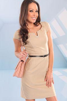 KHAKI STRETCHY CAP SLEEVE V-NECK BUSINESS DRESS