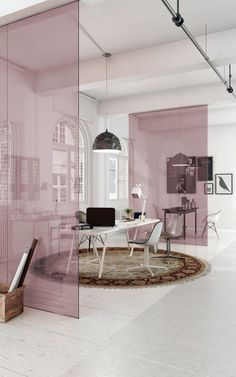 ROSE FROSTED GLASS PARTITION