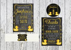 Rubber Duck Birthday Package  Chalkboard by InvitasticInvites, $40.00