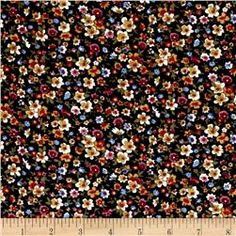 Corduroy Flowers Black Multi