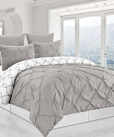 Look what I found on #zulily! Gray Reversible Pintuck & Printed Duvet Set #zulilyfinds