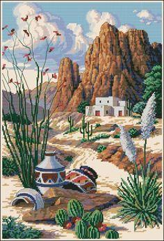 White Framed Southwest Pottery and Desert Mountain Scene Needlepoint Cactus