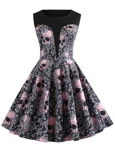 795a392d98a7 Buy ZAFUL Women's Vintage Floral Sleeveless Dress Spring Garden Swing Party  Picnic A Line Cocktail Dress online - Newfashionoffer