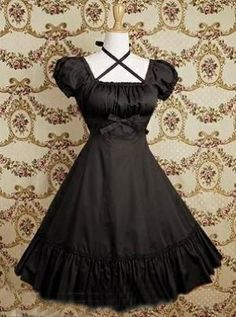 Ruffles Gothic Lolita Dress With Front Bow Black #lolita