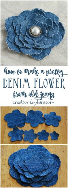 Blue Jean Upcycles - Denim Flower From Old Jeans - Ways to Make Old Denim Jeans Into DIY Home Decor, Handmade Gifts and Creative Fashion - Transform Old Blue Jeans into Pillows, Rugs, Kitchen and Living Room Decor upcycled crafts Upcycled Crafts, Repurposed, Blue Jeans, Blue Denim, Denim Flowers, Fabric Flowers, Fabric Flower Tutorial, Bow Tutorial, Sewing Patterns Free