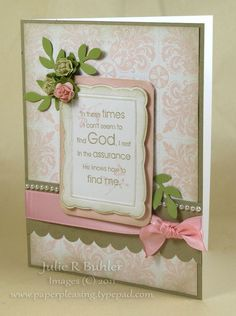 Card using flowers, stamped background, pearls, scallops.