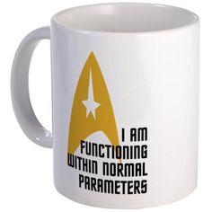 CafePress Star Trek Normal Parameters Mug Unique Coffee Mug, Coffee Cup Star Trek Quotes, Star Trek Merchandise, Star Trek Original, Star Trek Universe, Unique Coffee Mugs, How To Be Likeable, Craft Night, Retro Futurism, Coffee Cups