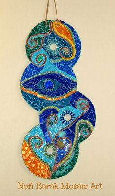 Original Mosaic Art, Wall Hanging, Reuse and Recycle Mix Media
