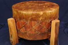 Cherokee Indian Buffalo Hide Pow Wow Drum 22x12