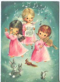 Vintage Christmas Angels Flute Violin Squirrel Rabbits Chipmunk Mouse Card Print