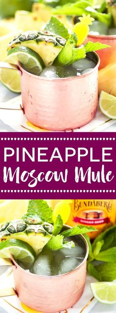This simple Pineapple Moscow Mule recipe is SO easy. This drink is so refreshing and perfect for summer. Can easily be made without alcohol too. Recipe from @whattheforkblog | Sponsored by Bundaberg Brewed Drinks | whattheforkfoodblog.com | summer drinks