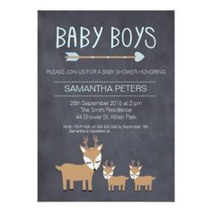 Deer Twin Boys Chalkboard Child Bathe Invitation. *** See more at the picture