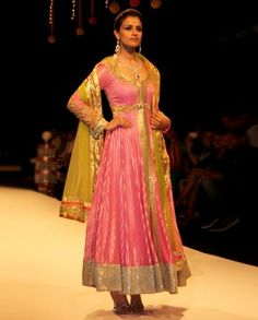 Www.zifaaf.com #IndianEthnicWear, #IndianWear, #Fashion, Bright Pink Anarkali Suit Set