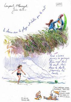 Une Bretagne par les Contours / Lampaul-Plouarzel Watercolor Journal, Watercolor Sketch, Architect Sketchbook, Contour, Sketchbook Pages, Nature Journal, Sketch Painting, Urban Sketching, Day Trips