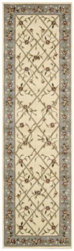 Nourison Zanibar Trellis Ivory 2.3-Feet by 8-Feet Polyacrylic Runner Rug by Nourison. $101.97. Machine woven in China. Densely woven, strikingly luxurious pile; traditional style. Power loomed in China; 50% polypropylene, 50% acrylic. Rug pad recommended. Dry clean recommended. 100% Polyacrylic. In this distinctive collection, premium quality Opulon yarns are used to create a densely woven and strikingly luxurious pile. The fashion appeal of the color palette is warml...