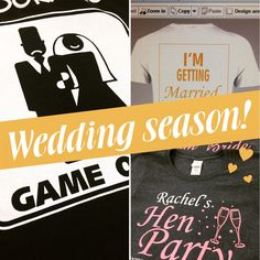 Wedding season! Get in touch now for your STAG & HEN t-shirts! Use our stock designs or design your own! #stagdo #hendo #tshirts #wedding