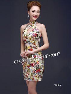 Short Floral Halter Mandarin Collar Qipao / Cheongsam Dress