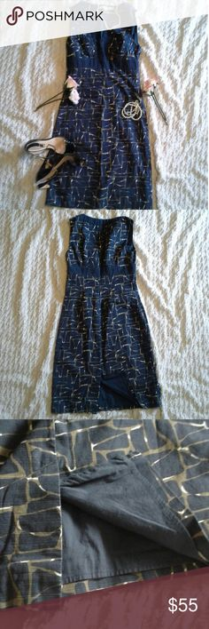 Women's Blue & Tan Dress Excellent Used Condition, No Flaws Outter: 100% Cotton Lining: 100% Cotton Zipper to the Right Side Boden Dresses