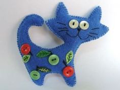 Arts And Crafts Joann Felt Animal Patterns, Felt Crafts Patterns, Felt Crafts Diy, Cat Crafts, Sewing Crafts, Felt Christmas Decorations, Felt Christmas Ornaments, Felt Embroidery, Felt Cat