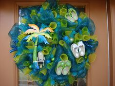 Tropical Turquoise Deco Mesh Door Wreath, Deco mesh Wreath,. $125.00, via Etsy.