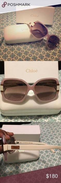 Authentic Chloe sunglasses in excellent condition Gorgeous color that sure to get compliments.  Worn twice.  Includes case, dust cloth, authenticity certificate, box. Chloe Accessories Sunglasses