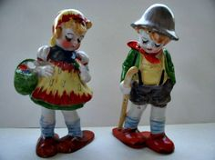 Vintage Swiss Girl and Boy Figurines.  Home Decor. Occupied Japan by FabulousFunFashion on Etsy