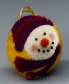 Needle felted snowman ornaments....Darling!