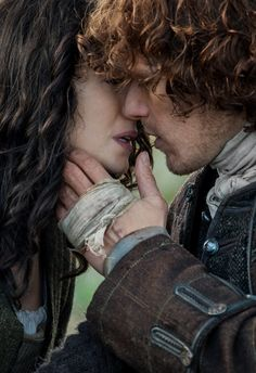 "Claire Fraser (Caitriona Balfe) and Jamie Fraser (Sam Heughan) in Episode 213 ""Dragonfly In Amber"" Outlander Season Two Finale on Starz 