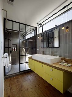 Bathroom partially inspired by steampunk.