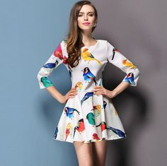 New 2014 Fashion Women Winter Dress Casual Chiffon Elegant Charming Gowns Bird Printed Dresses Bandage Pleated Mini Dress $13.80