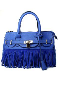 Blue Front Lock Fringe HandBag