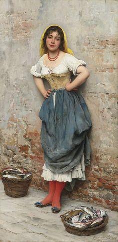 Эжен де Блаас «Торговка рыбой». 1895 г. Холст, масло. 85,1х45,1 см. Частное собрание.