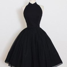Vintage 50s Dress | 1950s vintage dress | black crepe chiffon halter dress