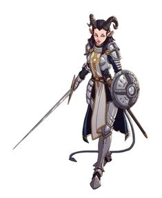 Female Tiefling Paladin Knight - Pathfinder PFRPG DND D&D 3.5 5th ed d20 fantasy