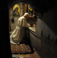 """""""Here Christ rose, never to die again. Here the history of humanity was decisively changed."""" —Pope Benedict XVI on his knees in the Holy Sepulchre in Jerusalem, May 15, 2009.    From page 92 of """"The True Icon: From the Shroud of Turin to the Veil of Manoppello"""", by Paul Badde"""