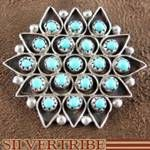 Native American Turquoise Jewelry Sterling Silver Zuni Indian Pin Pendant $53.99
