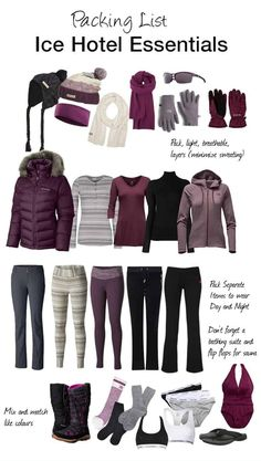 Staying at an Ice Hotel this winter? Here's a packing list of items you will need to get you through the night. holiday packing list Stay the Night or Just Explore The Quebec City Ice Hotel Tour Ski Trip Packing List, Packing Tips, Europe Packing, Traveling Europe, Backpacking Europe, Weekend Packing, Travelling, Voyage Ski, Ski Vacation