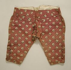 Flower Power Georgian style! Breeches, early 18th Century, French. Part of a suit. See Frockcoat and Waistcoat here: http://pinterest.com/pin/278589926921194949/