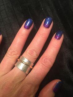 CND Shellac Purple Purple with glitter feature