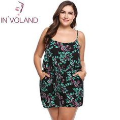 df4731a4fd74 INVOLAND Plus Size Women Rompers Summer Beach Loose Playsuits Floral Print  Spaghetti Strap Sleeveless oversized Summer