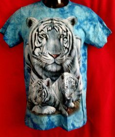 AAAA WhiteTiger print100% cotton light blue-Tye-Dye t-shirt new fashoin