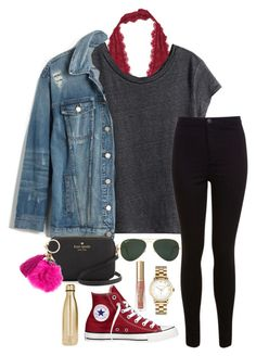"""""""Untitled #260"""" by valerienwashington ❤ liked on Polyvore featuring Free People, H&M, Madewell, Miss Selfridge, Converse, Kate Spade, Marc by Marc Jacobs, Ray-Ban, Too Faced Cosmetics and S'well"""