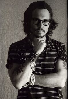 Johnny Depp, male actor, arms, hands, stylish, glasses, hands, jewelry, steaming hot, beard, sexy, sizzling, cute, eyecandy, portrait, photo b/w.